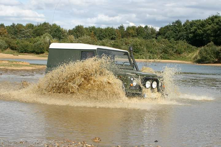 Defender in a lake